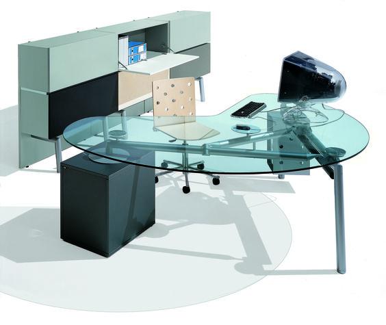 Vente Bureau ligne ISOTTA plateau verre - Bureaux de verre Montpellier (34)
